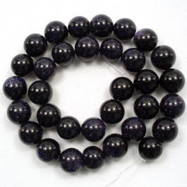 Blue Goldstone 12mm Round Beads