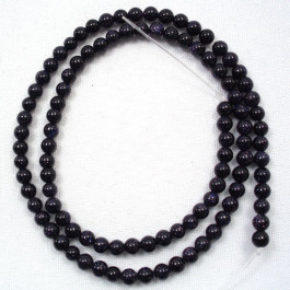 Blue Goldstone 4mm Round Beads