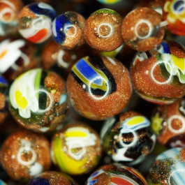 Millefiori Goldstone 10mm Round Beads