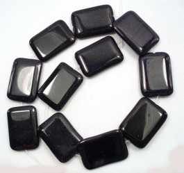 Blue Goldstone 25x35mm Pillow Beads