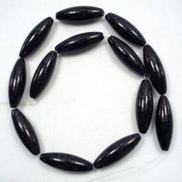 Blue Goldstone 10x30mm Rice Beads