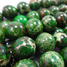 Green Impression Jasper 10mm Round Beads