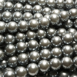 Grey Glass Pearls 10mm Round Beads