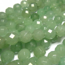 Green Aventurine Faceted 10mm Round Beads