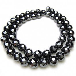 Hematite Faceted 6mm Round Beads