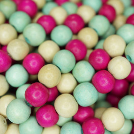Natural White Wood Mixed Colour Beads - Hot Pink, Turquoise and Natural
