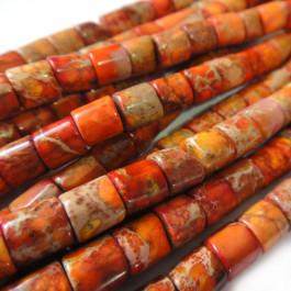 Orange Impression Jasper Tube Beads