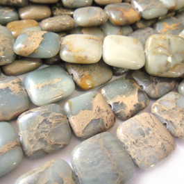 Impression Jasper 12mm Puffy Square Beads