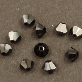 Swarovski® 4mm Jet Hematite Bicone Xilion Cut Beads (Pack of 10)