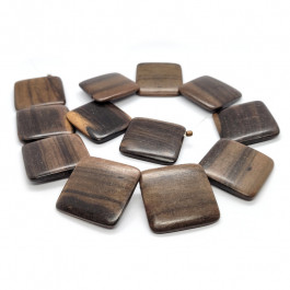 Kamagong (Tiger Ebony) Top Drilled Square Beads