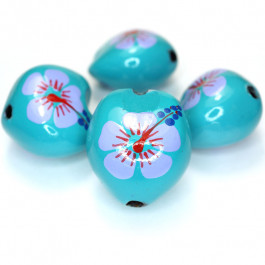 Kukui Nut Turquoise With Flower (Pack 4)