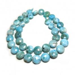 Larimar Coin 10mm Beads