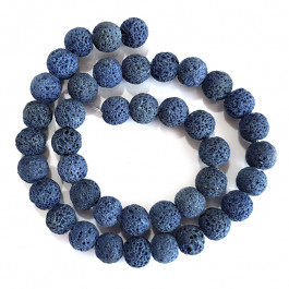 Dyed Lava Rock Cobalt Blue 10mm Round Beads