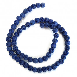 Dyed Lava Rock Cobalt Blue 6mm Round Beads