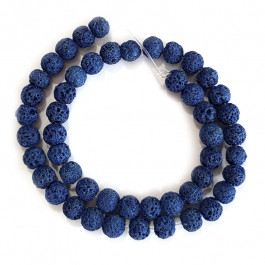 Dyed Lava Rock Cobalt Blue 8mm Round Beads