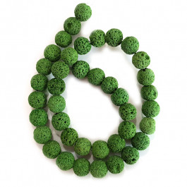 Dyed Lava Rock Green 10mm Round Bead
