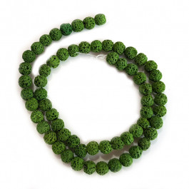 Dyed Lava Rock Green 6mm Round Beads
