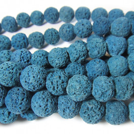 Dyed Azure Blue Lava Rock Beads 10mm