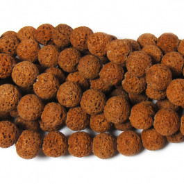 Dyed Burnt Orange Lava Rock Beads 10mm