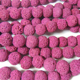 Dyed Fuchsia Lava Rock Beads 10mm