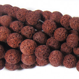 Dyed Rust Red Lava Rock Beads 10mm