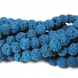Dyed Azure Blue Lava Rock Beads 6mm