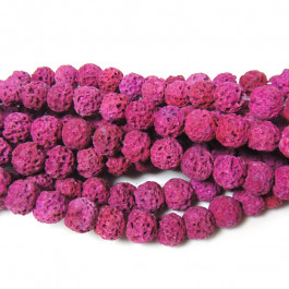 Dyed Fuchsia Lava Rock Beads 6mm