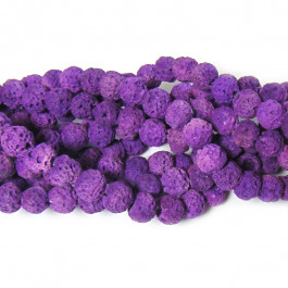 Dyed Burnt Purple Rock Beads 8mm