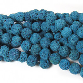 Dyed Azure Blue Lava Rock Beads 8mm