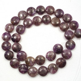 Lepidolite 12mm Coin Beads