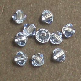 Swarovski® 4mm Light Sapphire Bicone Xilion Cut Beads (Pack of 10)