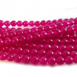 Malay Jade Fuchsia 4mm Round Beads