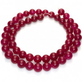Malay Jade Fuchsia 8mm Round Beads