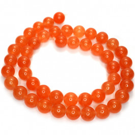 Malay Jade Orange 8mm Round Beads