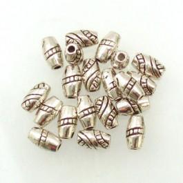 Tibetan Silver 8x4.5mm Beads (Pack 20)