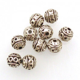 Tibetan Silver 8mm Beads (Pack 10)