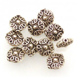 Tibetan Silver 11x10x5mm Beads (Pack 10)