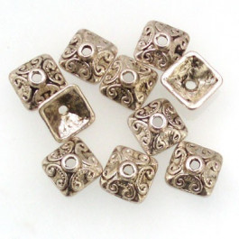 Tibetan 10mm Square Bead Caps (Pack 10)