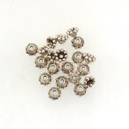 Tibetan Silver 5mm Bead Caps (Pack 20)