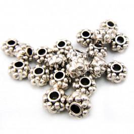Tibetan Silver 6.5x4.5mm Studded Beads