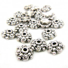Tibetan Silver 8mm Studded Bead Caps