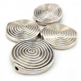 Tibetan Silver 18mm Swirl Disc Beads