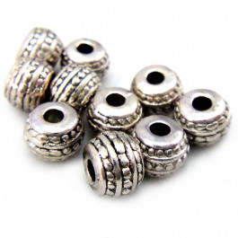 Tibetan Silver 7mm Short Barrell Beads