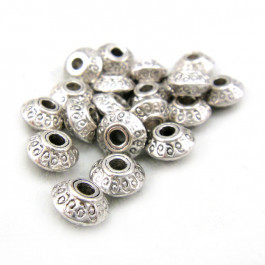 Tibetan Silver 7x4.5mm Bicone Saucer Beads