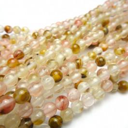 Mixed Colour Cherry Quartz 4mm Round Beads