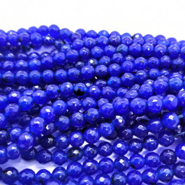 Malay Jade Blue Faceted 6mm Round Beads