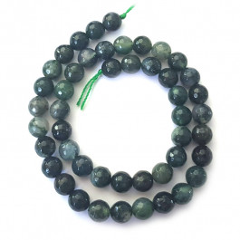Moss Agate Faceted 8mm Round Beads