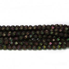 Matte Black Colourful Hematite 4x4mm Diamond Cut Beads