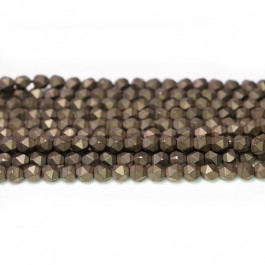 Matte Coffee Hematite 4x4mm Diamond Cut Beads