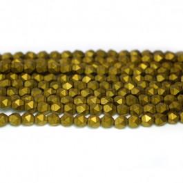 Matte Golden Hematite 4x4mm Diamond Cut Beads
